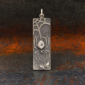 Sterling Silver Spider Pendant on Rectangle 37x10mm