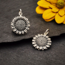 Sterling Silver Sunflower Charm 22x15mm