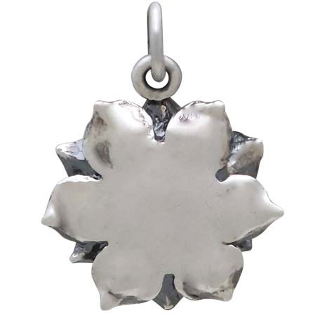 Sterling Silver Lotus Pendant with Bronze Heart 19x14mm