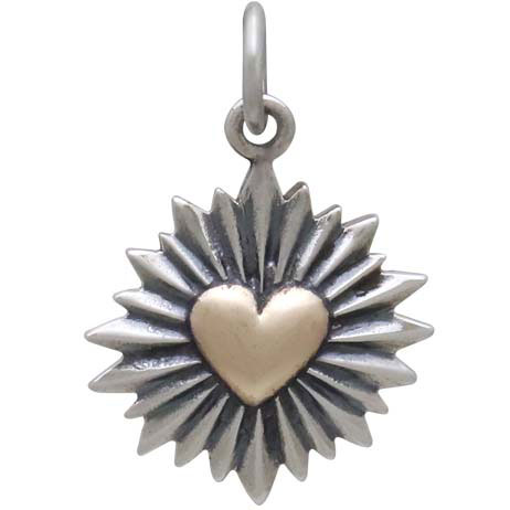 Mixed Metal Heart Pendant with Sunrays 20x14mm