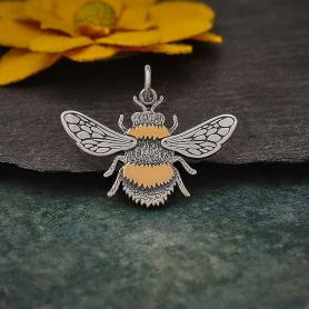 Mixed Metal Bumble Bee Pendant 21x25mm