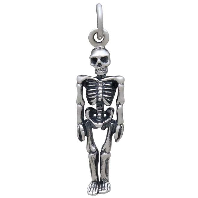 Sterling Silver 3D Skeleton Charm 26x7mm