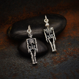 Sterling Silver 3D Skeleton Charm 26x7mm