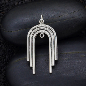 Sterling Silver Art Deco Arch Pendant Link 35x18mm