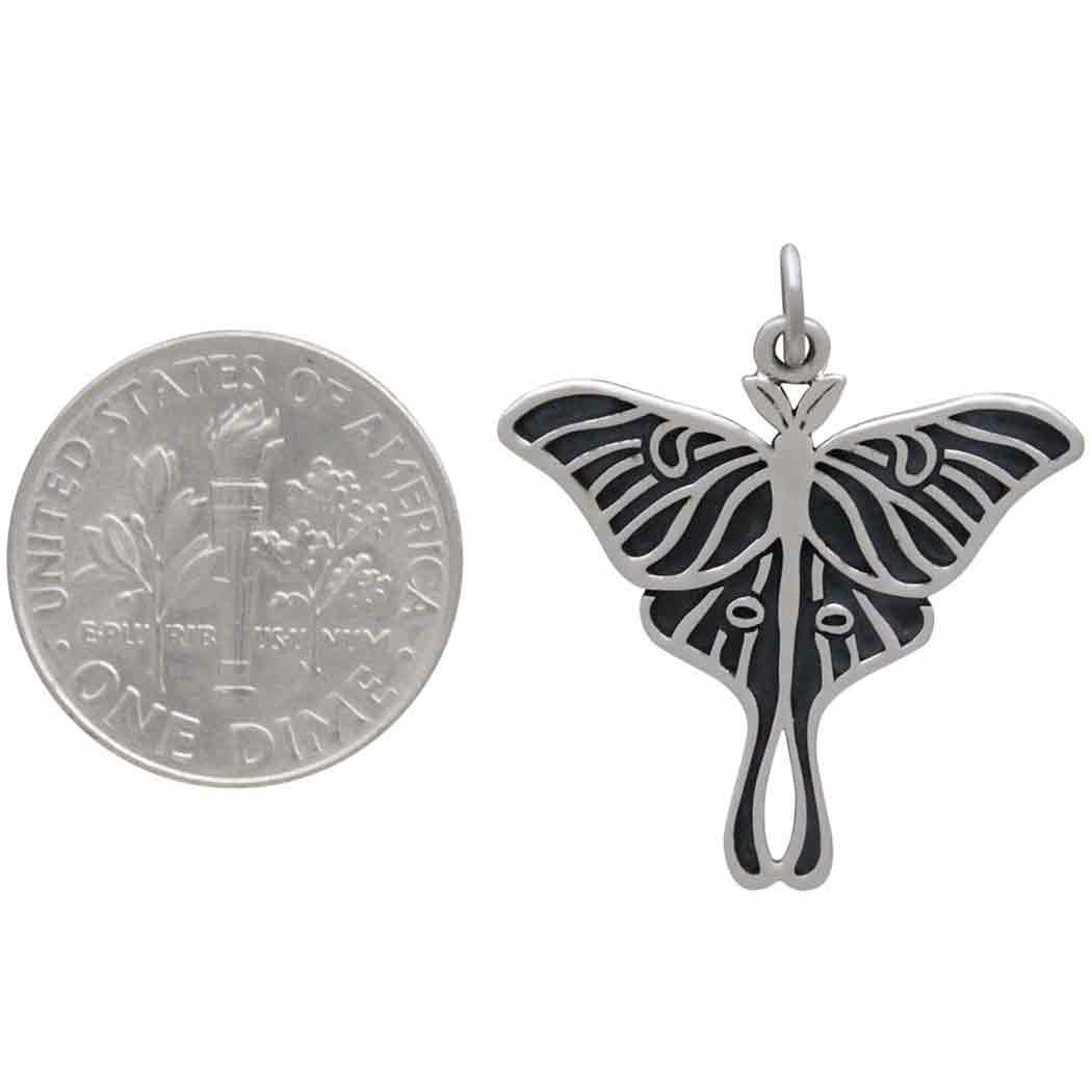 Sterling Silver Etched Luna Moth Charm 27x23mm