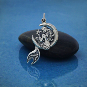 Sterling Silver Mermaid on the Moon Pendant 30x17mm