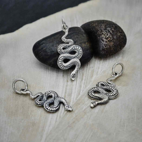 Sterling Silver Small Textured Snake Charm 22x9mm