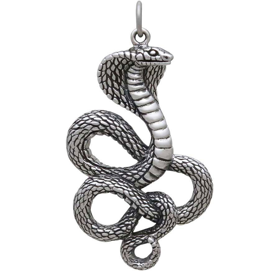 Sterling Silver Cobra Pendant 38x21mm