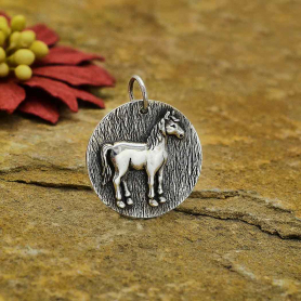 Sterling Silver Horse Coin Charm 23x19mm