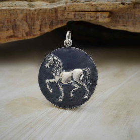 Sterling Silver Prancing Horse Pendant 28x21mm