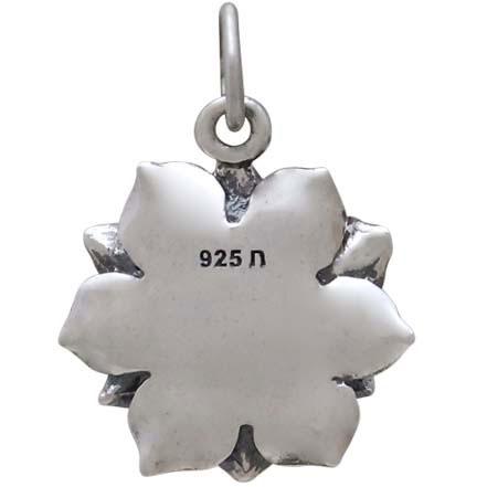 Sterling Silver Realistic Lotus Charm 19x14mm