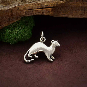 Sterling Silver Ferret Charm 16x19mm