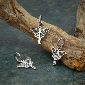Stering Silver Tiny Luna Moth Charm 15x11mm