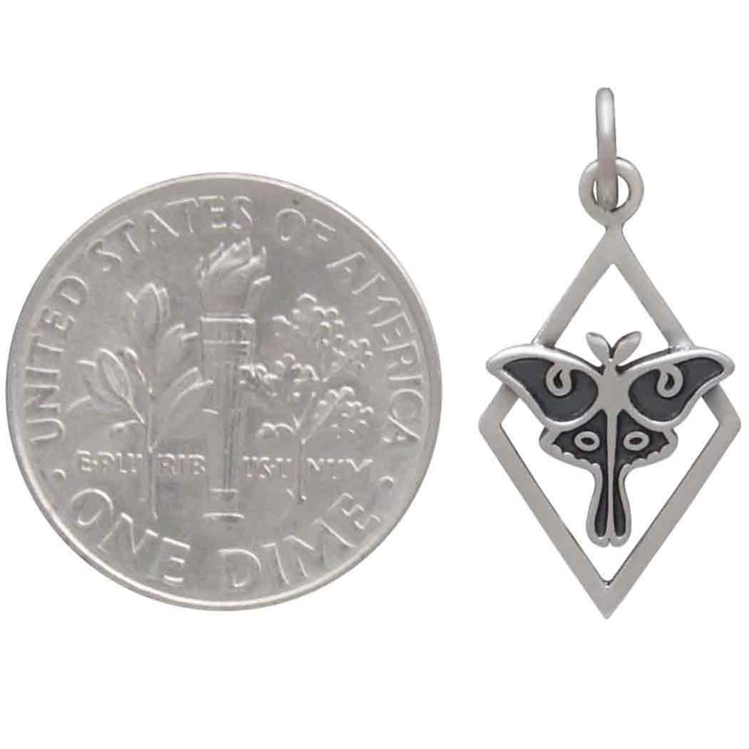 Sterling Silver Tiny Luna Moth Charm in Diamond Frame 23x11m