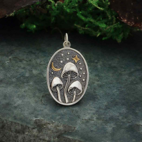 Silver Mushroom Pendant with Bronze Star and Moon 26x15mm