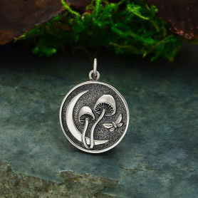 Sterling Silver Moon and Mushroom Pendant 25x18mm