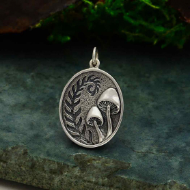 Sterling Silver Etched Fern and Mushroom Pendant 26x17mm