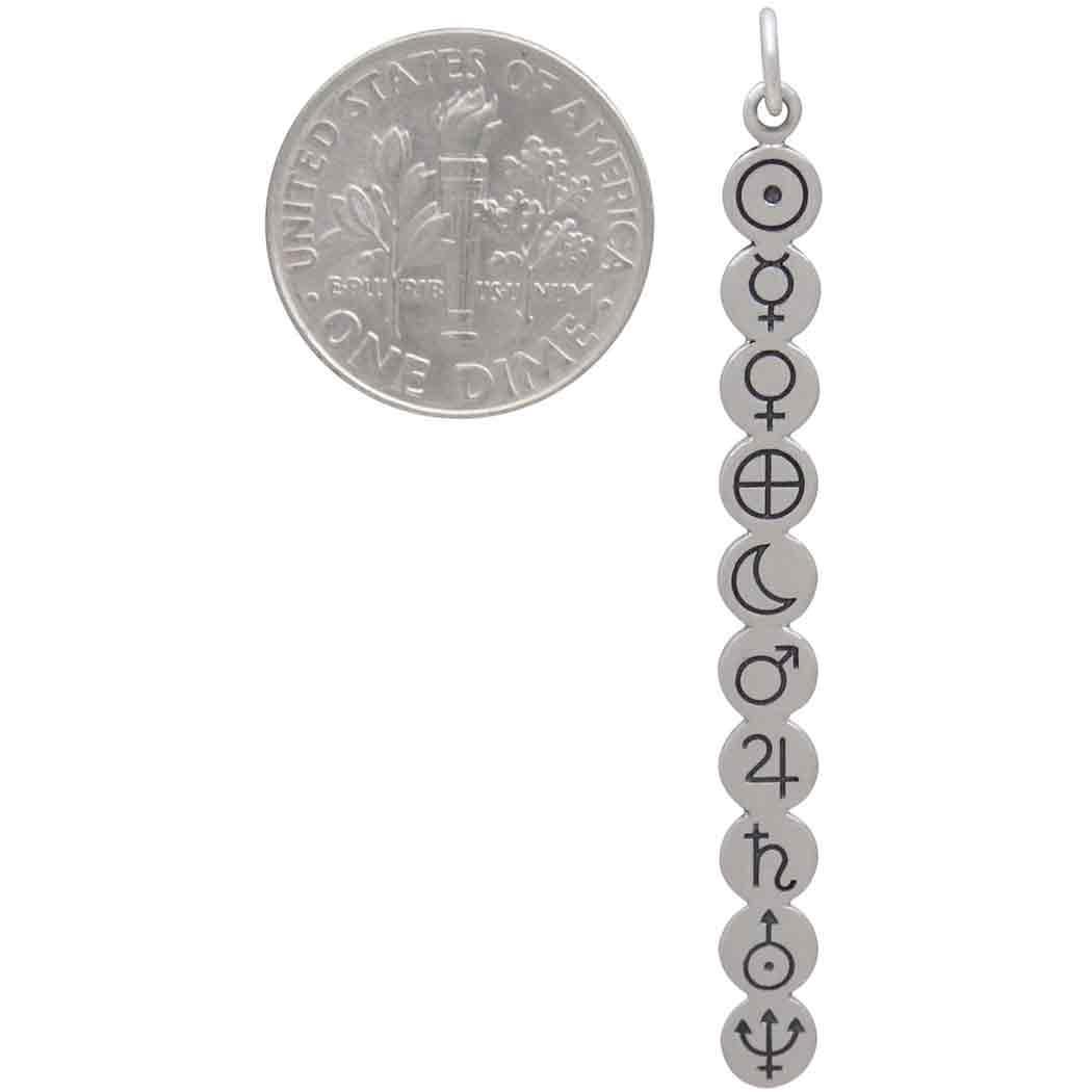 Sterling Silver Planetary Symbol Pendant 52x5mm