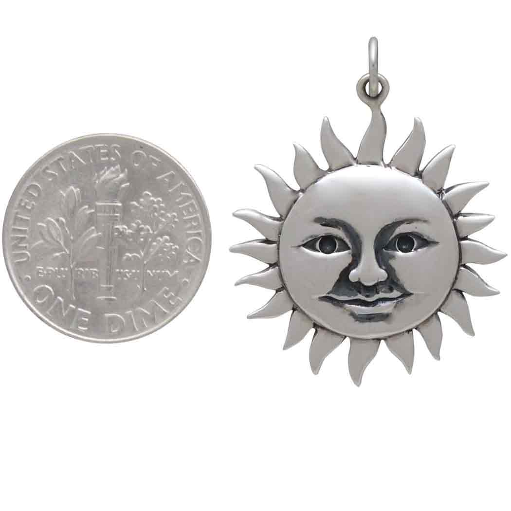 Sterling Silver Large Smiling Sun Pendant 31x24mm