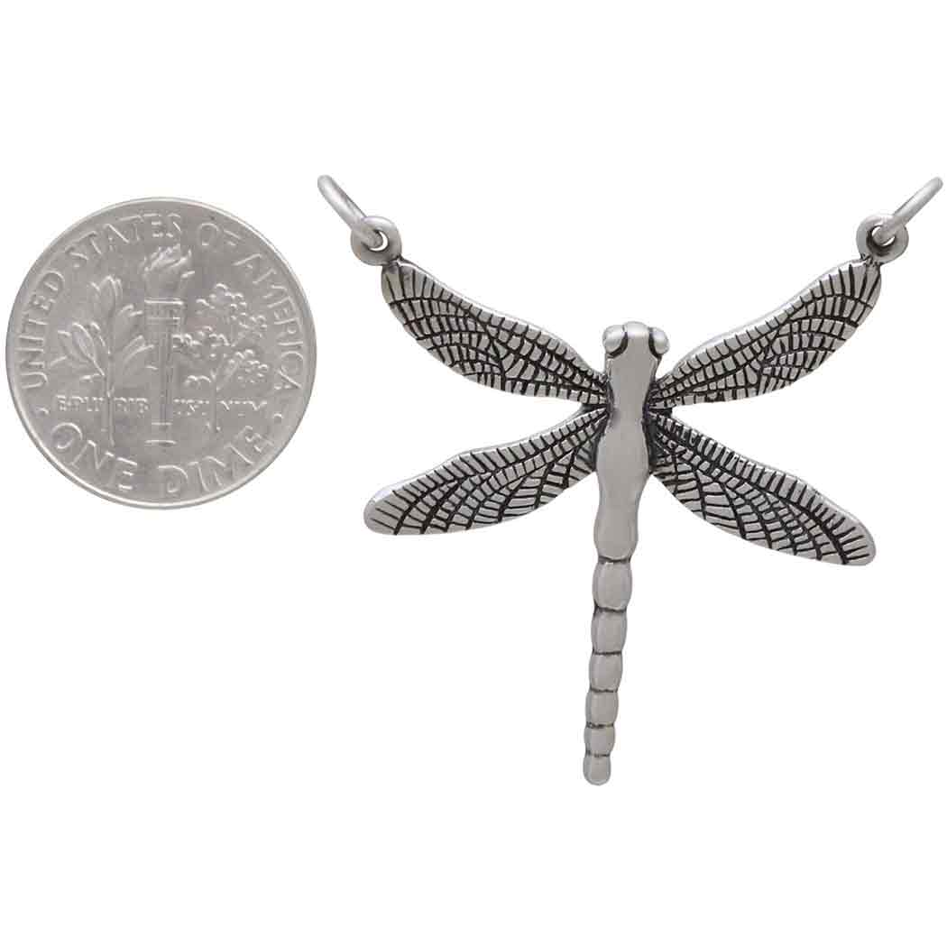 Sterling Silver Dragonfly Pendant Festoon 36x31mm