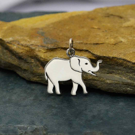 Sterling Silver Layered Elephant Charm 18x19mm