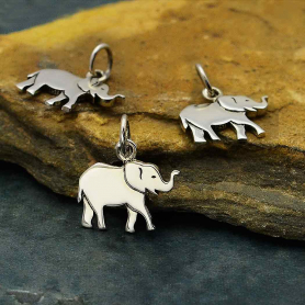 Sterling Silver Small Layered Elephant Charm 15x13mm