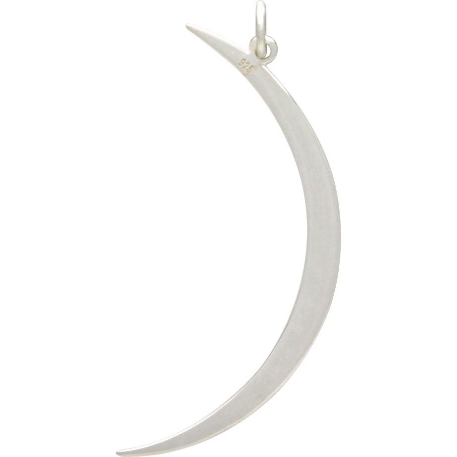 Sterling Silver Skinny Ridged Moon Pendant 43x17mm