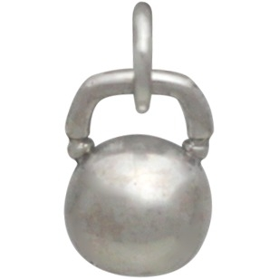 Sterling Silver Kettle Bell Charm - Sports Charms 12x7mm