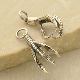 Sterling Silver Bird Claw Charm Talons 22x10mm
