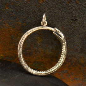 Sterling Silver Ouroboros Snake Pendant 26x21mm