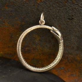 Sterling Silver Ouroboros Snake Pendant