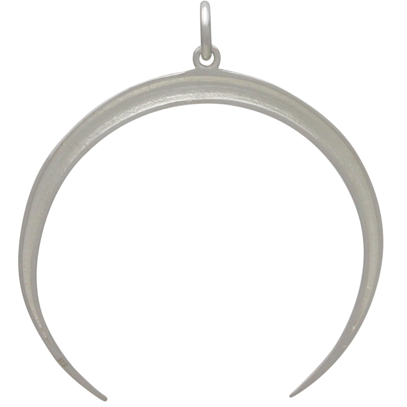 Sterling Silver Crescent Ridged Moon Pendant 35x33mm