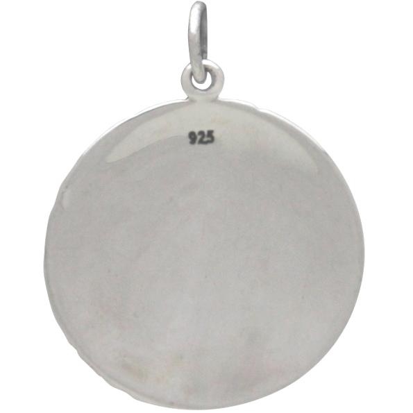 Sterling Silver Full Moon Pendant 26x20mm