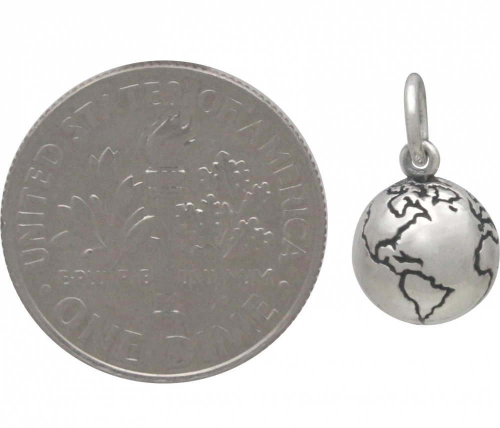Sterling Silver 3D World Charm