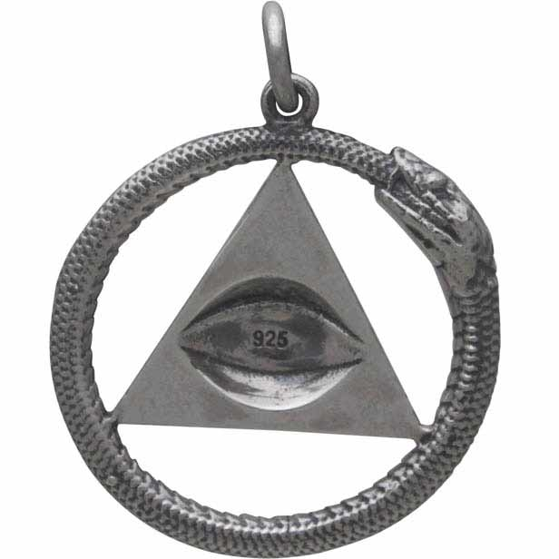 Sterling Silver All Seeing Eye and Ouroboros Pendant