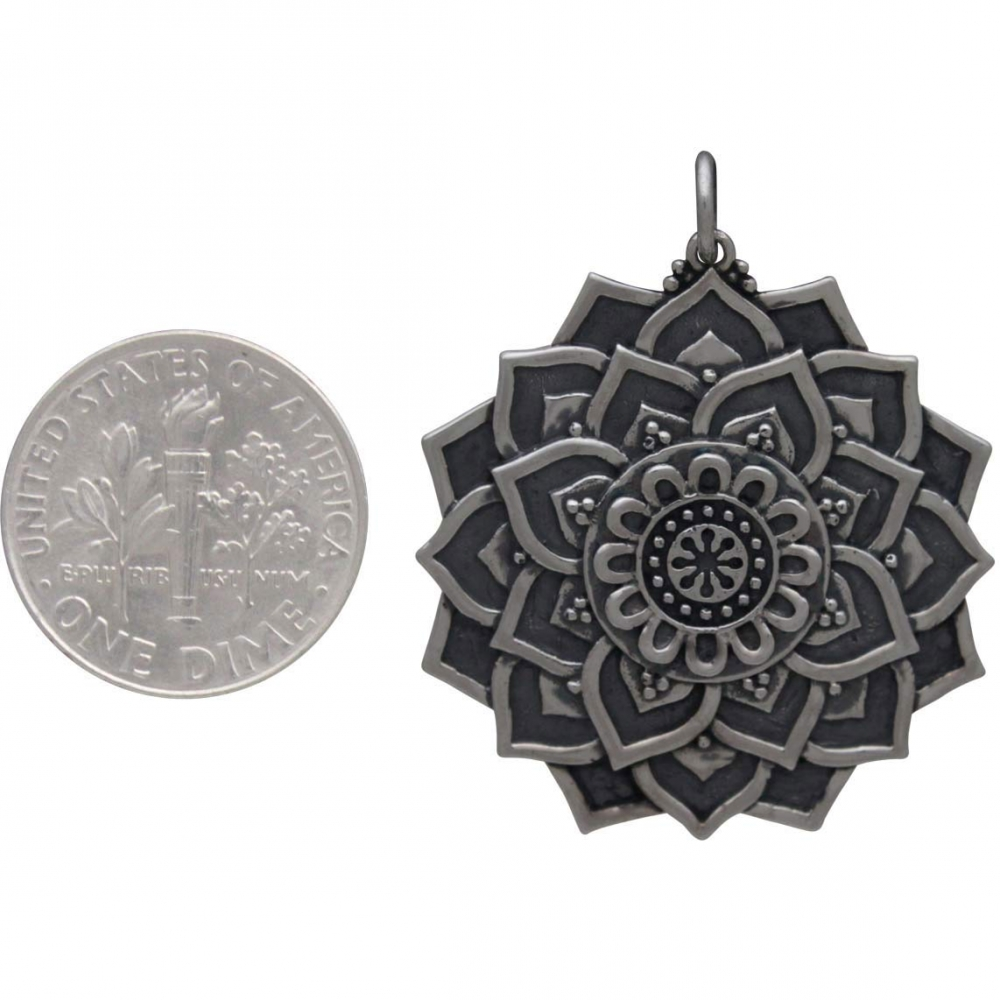 Sterling Silver Lotus Mandala Pendant 34x29mm