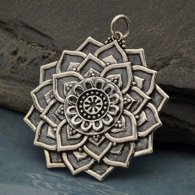 Sterling Silver Lotus Mandala Pendant -35mm