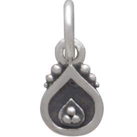 Sterling Silver Decorated Teardrop Charm 12x5mm
