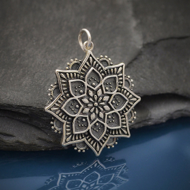 Sterling Silver Medium Lotus Mandala Pendant 32x25mm
