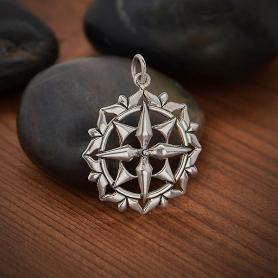 Sterling Silver Compass Mandala Pendant 27x21mm