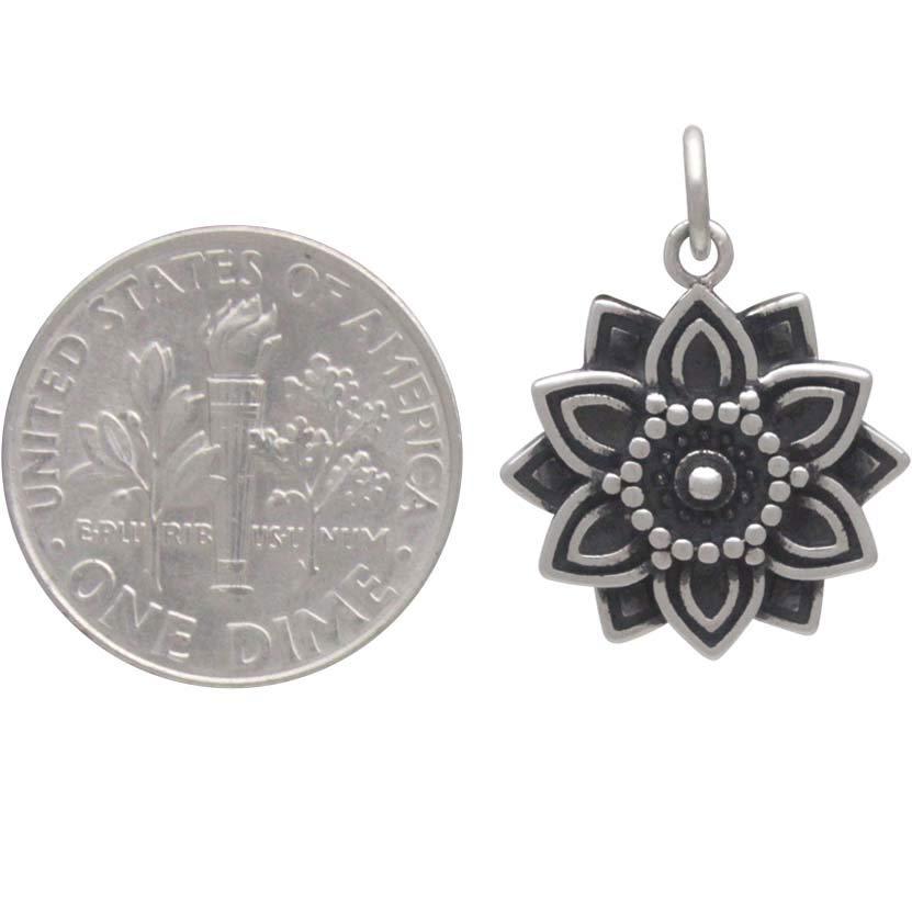 Sterling Silver Affirmation Mandala Charm -Abundance 21x16mm