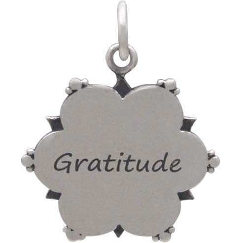 Sterling Silver Affirmation Mandala Charm -Gratitude 21x17mm