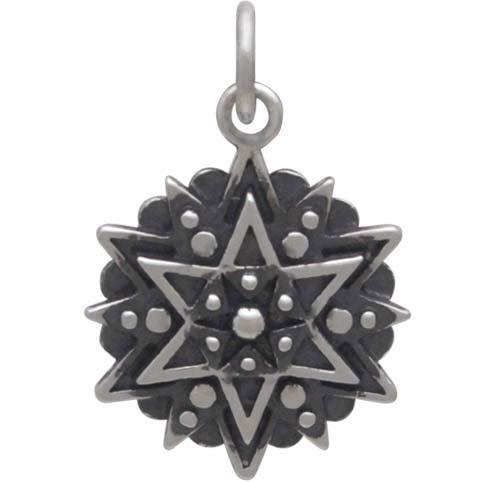 Silver Affirmation Mandala Charm -Inspiration 21x14mm