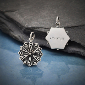 Sterling Silver Affirmation Mandala Charm -Courage 21x15mm