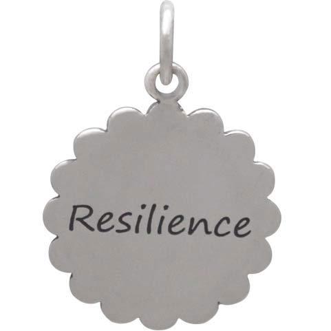 Silver Affirmation Mandala Charm -Resilience 21x15mm