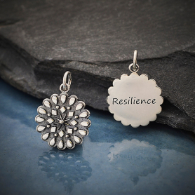 Silver Affirmation Mandala Charm -Resilience 21x15mm