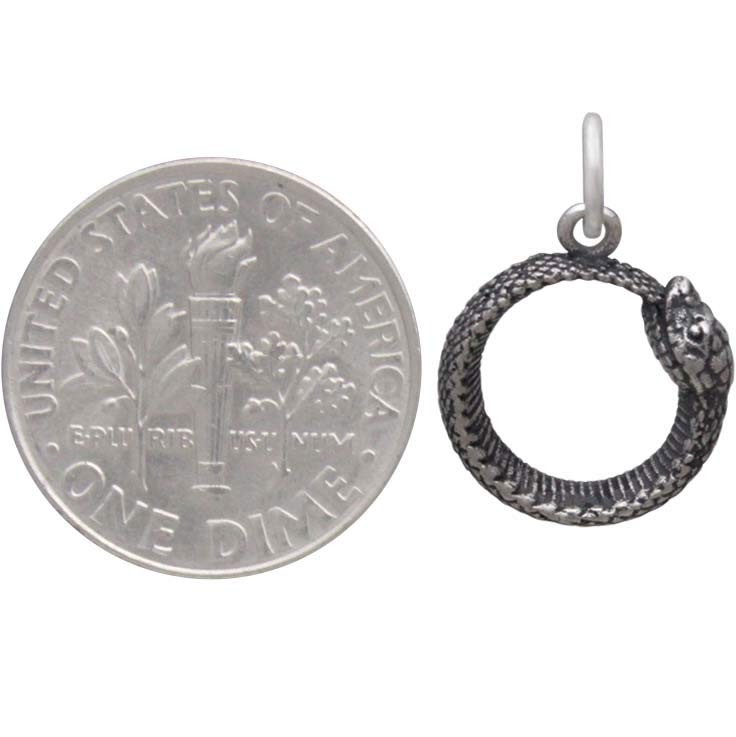 Sterling Silver Ouroboros Snake Charm -18mm