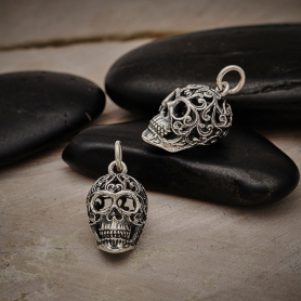 Sterling Silver Sugar Skull Charm with Filigree Scroll Work