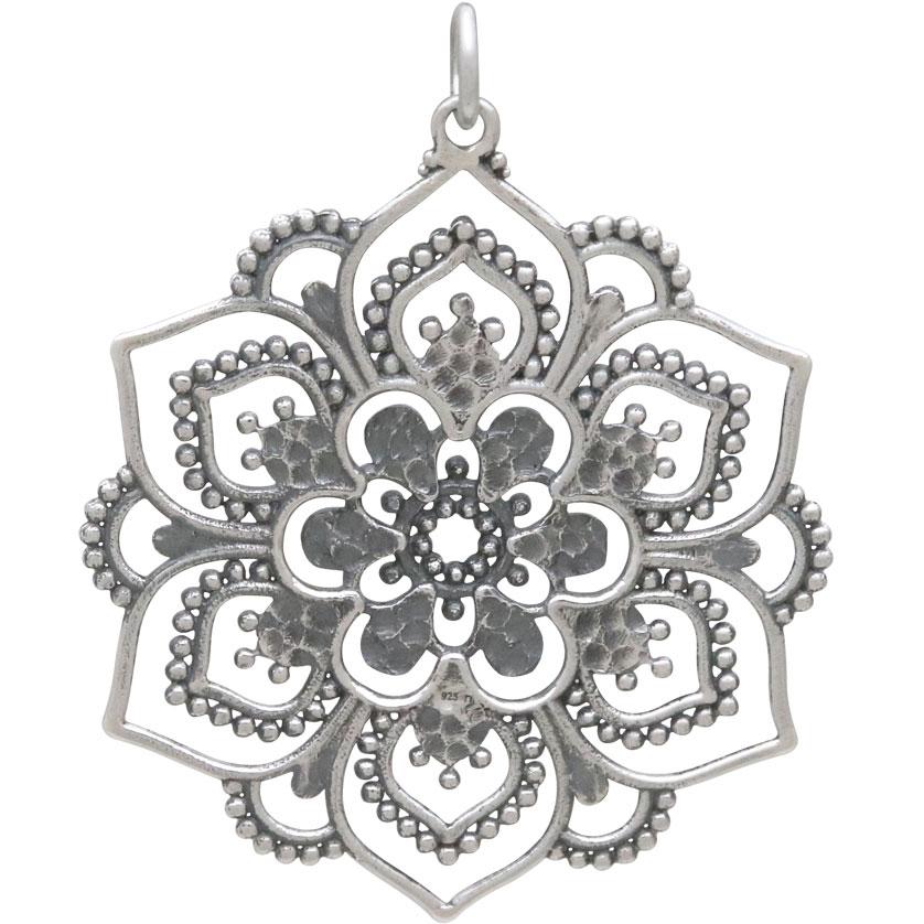 Sterling Silver Openwork Lotus Mandala Pendant 37x30mm