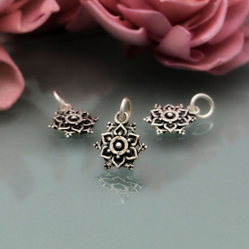 Sterling Silver Lotus Mandala Charm with Granulation 15x10mm